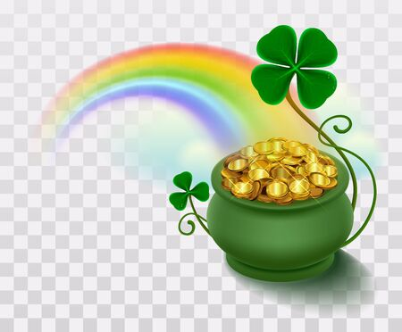 Rainbow, green leaf lucky clover and pot full of gold.