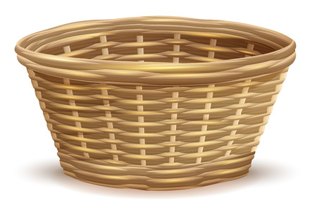 basketry: Empty wicker basket without handles.