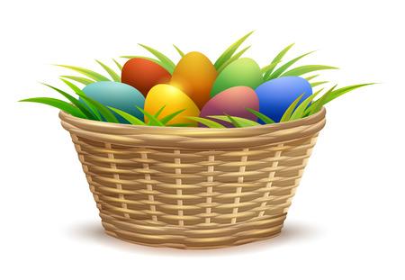 basketry: Wicker basket full of Easter eggs on grass. Isolated on white background vector illustration