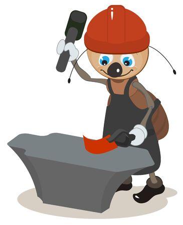 Ant smith hit hammer on anvil. Vector cartoon illustration