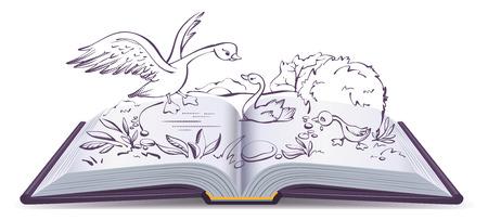 Illustratie open boek sprookje van lelijke eendje. Geïsoleerd op wit vector cartoon illustratie