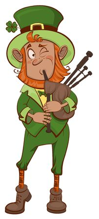bagpipe: St. Patricks Day. Man musician and bagpipes. Isolated on white vector cartoon illustration