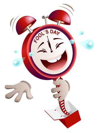comedian: Fools day time. Clock hours service laughs surprise on spring from box. Isolated on white vector illustration Illustration