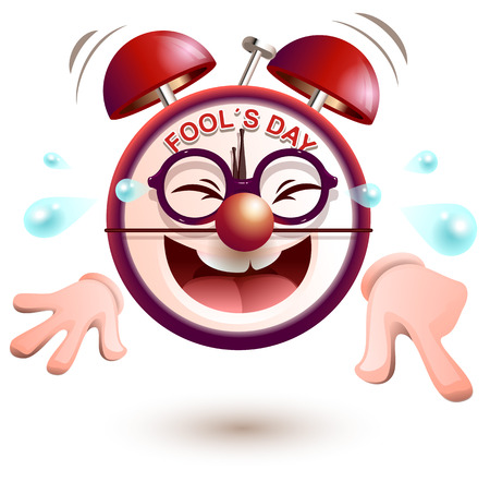 Fun clock laughs fools day. Isolated on white vector cartoon illustration