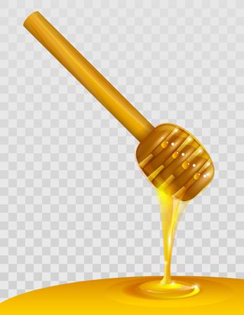 dipper: Wooden honey dipper and honey on transparent background. Vector illustration