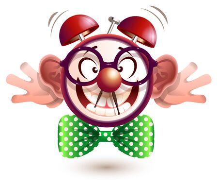 Fun alarm clock face fool day teases. Isolated on white vector cartoon illustration