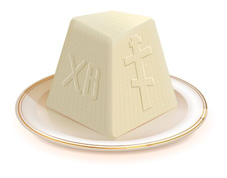 Traditional Easter dessert cottage cheese. Isolated on white vector illustration Ilustração