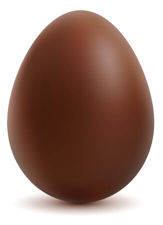 brown egg: Brown sweet chocolate egg on white background. Vector illustration