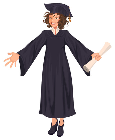 High school graduation young woman in black mantle holds scroll. Isolated on white vector cartoon illustration