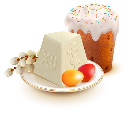 Russian Easter cake, cottage cheese, colorful eggs and willow branch. Isolated on white vector illustration Ilustração