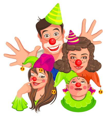 tomfool: Family of clowns. Dad, Mom, Daughter, Son. Isolated on white vector cartoon illustration