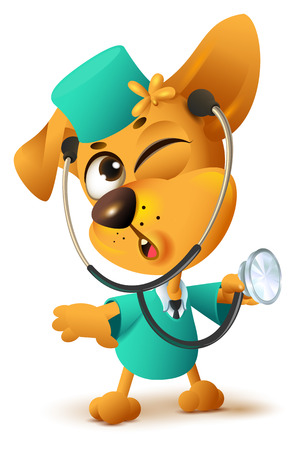 Yellow dog doctor vet keeps stethoscope. Isolated on white fun vector cartoon illustration