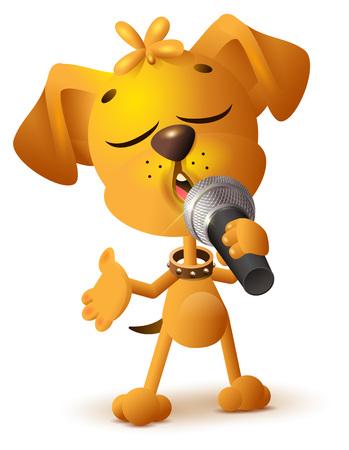 노란 강아지 노래 솔로 마이크입니다. 흰색 벡터 일러스트 레이 션에 절연