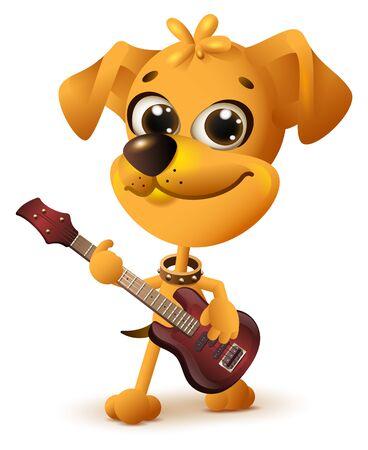 rock guitarist: Yellow dog playing guitar. Isolated on white vector cartoon illustration Illustration