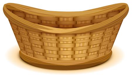 Empty wicker basket nest. Isolated on white vector cartoon illustration