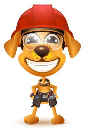 Yellow dog builder in protective helmet smile.