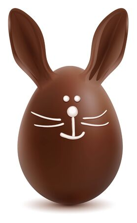 brown hare: Brown Easter Bunny Chocolate Egg. Isolated on white vector cartoon illustration