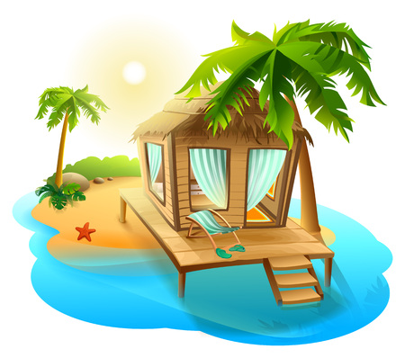 recliner: Beach vacation. Thatched hut bungalow on tropical island. Isolated on white vector cartoon illustration