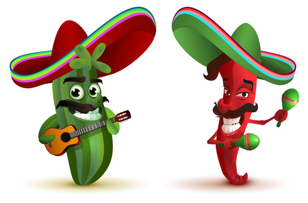 Red hot chili peppers and cactus in Mexican hat sombrero dancing maracas. Isolated on white vector illustration Stock Illustratie