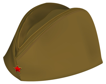 Brown russian retro soldiers cap with red star. Isolated on white vector illustration