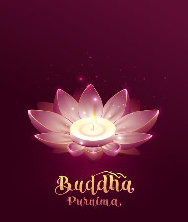Buddha Purnima Vesak day lettering text greeting card. Lotus flower and burning candle.