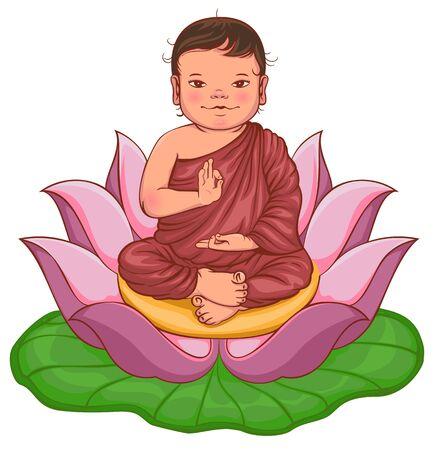 Newborn buddha boy sits in lotus flower. Isolated on white vector cartoon illustration Illustration