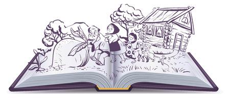 Russian fairy tale The turnip. Open book vector illustration Ilustração
