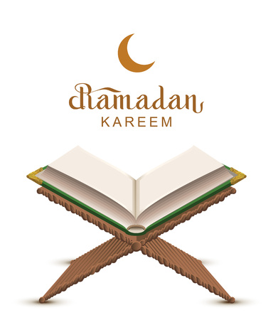 Testo di Ramadan Kareem e libro aperto Corano. Isolato sulla cartolina d'auguri bianca dell'illustrazione di vettore