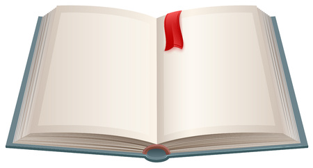 Open book with empty sheets and red bookmark. Isolated on white vector illustration