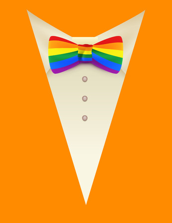 bisexuality: Symbol lgbt Rainbow tie butterfly and orange suit. Vector template greeting card illustration