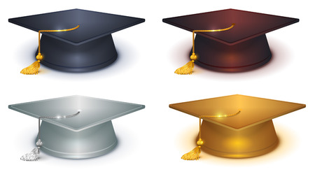 Silver, gold and black mortarboard. Isolated on white vector illustration