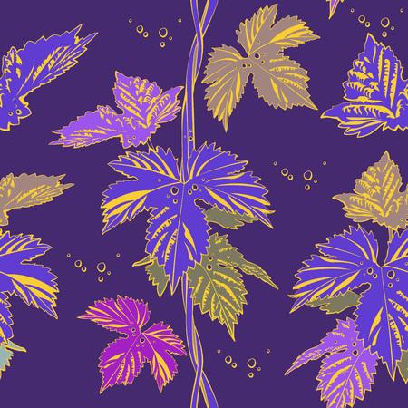 Abstract purple vine liana leaves hops. Seamless vector pattern illustration