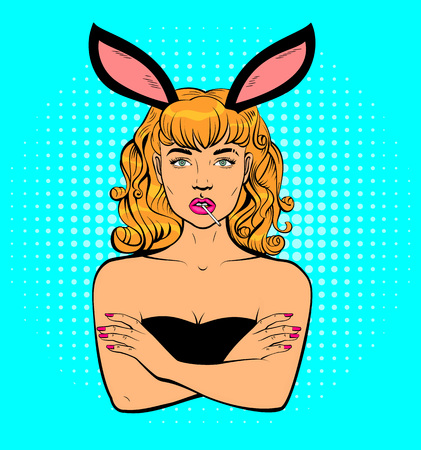 Beautiful young woman with rabbit ears holding mouthful of lollipop. Pop art retro comics vector illustration Illustration