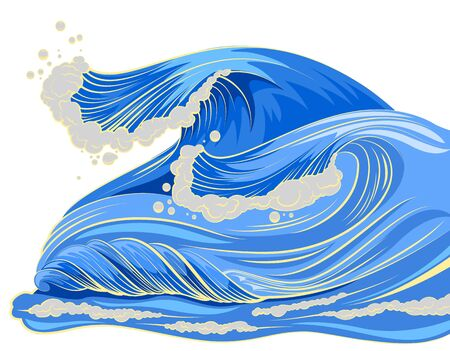 gale: Blue high wave with white foam cap. Isolated vector cartoon illustration Illustration