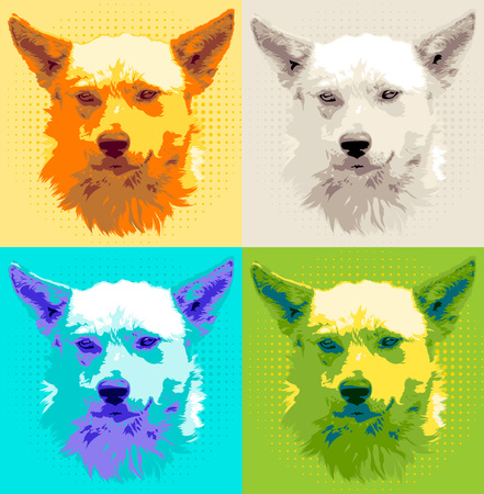 Set head dog pooch vector illustration. Color image