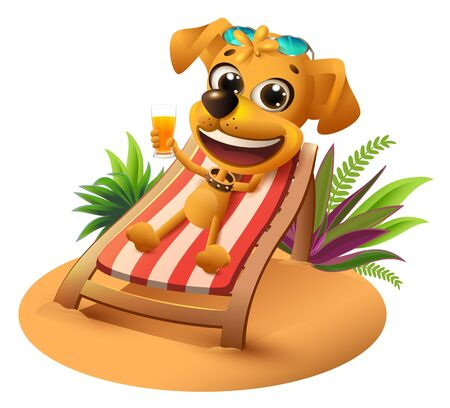 Summer beach vacation. Yellow dog lies on deckchair and holds orange juice. Isolated on white vector cartoon illustration