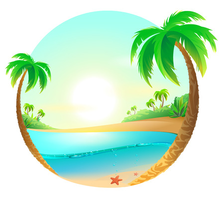Tropical beach among palm trees. Vector cartoon illustration