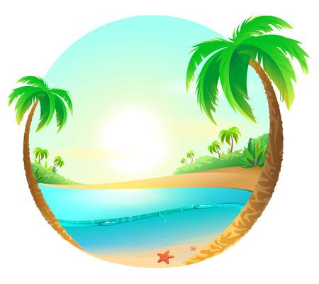 Tropikalna plaża wśród drzew palmowych. Ilustracja kreskówka wektor