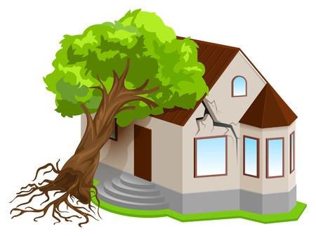 Assicurazione di proprietà contro i disastri naturali. L'albero del terremoto è caduto a casa. Isolato sull'illustrazione bianca di vettore 3d
