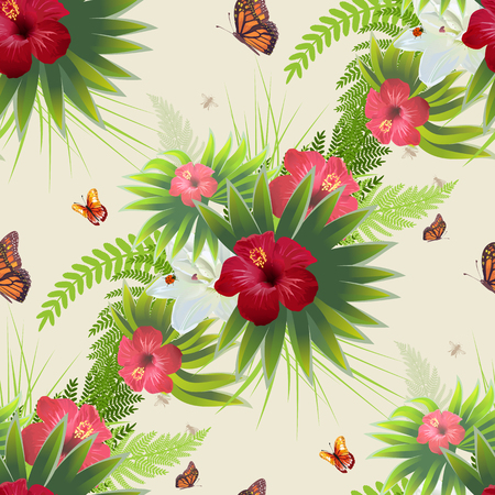 Red Hibiscus flower, green leaves and butterflies