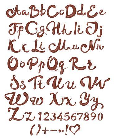 Chocolate English alphabet isolated vector illustration
