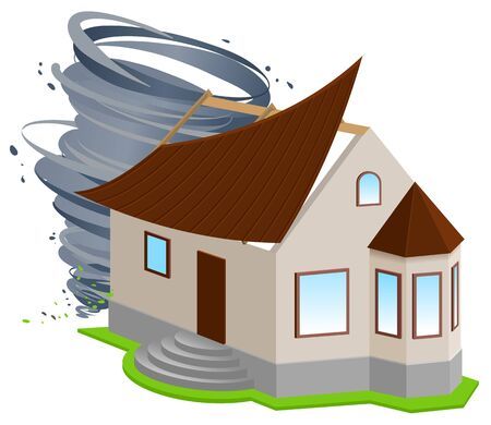 damaged roof: Insurance of home. Hurricane ripped off roof of house. Isolated on white vector 3d illustration