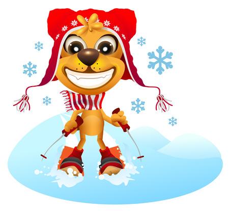 Yellow dog skier in red hat skiing. Fun vector cartoon illustration Ilustrace
