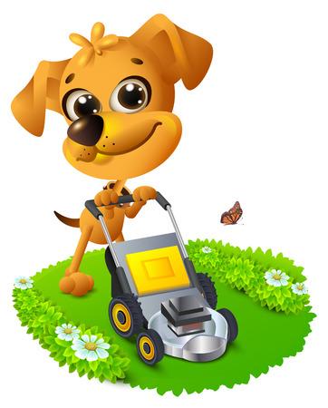 Yellow fun dog mowing lawn. Vector cartoon 3d illustration