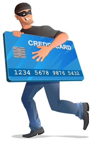 carding: Man robber runs with credit card. Isolated on white vector cartoon illustration Illustration
