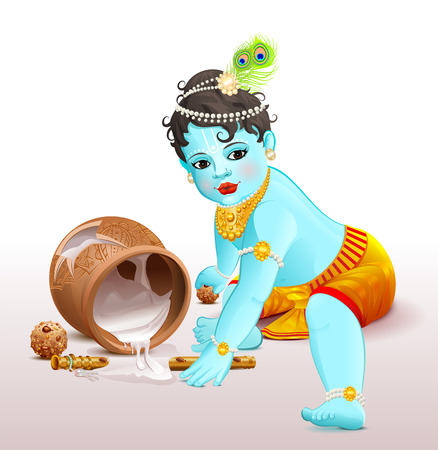 radha: Happy Krishna Janmashtami. Blue boy god broke pot with yogurt. Vector illustration for greeting card Illustration