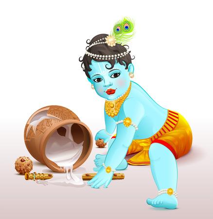 Happy Krishna Janmashtami. Blue boy god broke pot with yogurt. Vector illustration for greeting card Illustration
