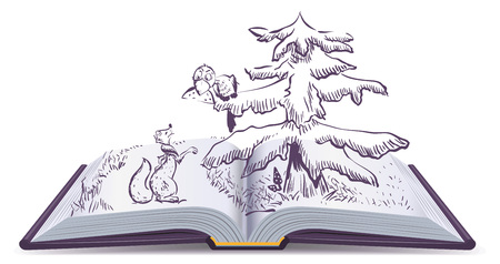 fable: Fox and Crow story. Open book fable illustration. Isolated on white vector cartoon illustration