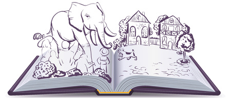 fable: Elephant and Pug story. Illustration open fable book. Vector cartoon drawing