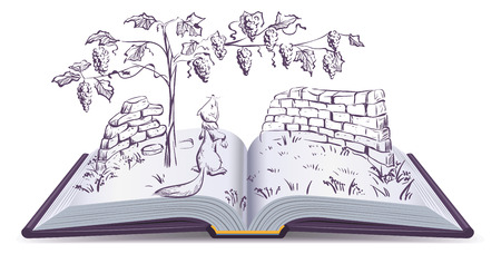 fable: Fox and grapes. Open book fable illustration. Illustration
